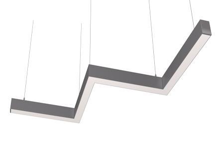 Светодиодный светильник змейка 3 колена Ledcraft LC-LP-6735 80W 2370 мм Опал Нейтральный белый
