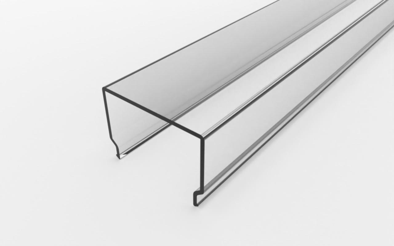 Рассеиватель прямоугольный, прозрачный, поликарбонат LC-LRM-1728-6