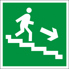Светодиодный аварийный указатель LC-SIP-E05-2020-BAP Направление к выходу по лестнице вниз (направо)