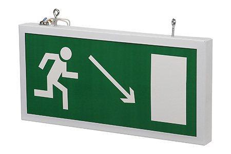 Светодиодный аварийный указатель LC-SIP-E17-3015-BAP Направление к выходу направо вниз 330х180 мм